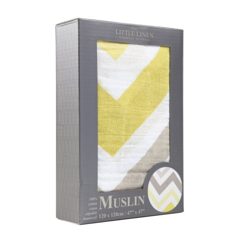 The Little Linen Company Australia Single Pack Muslin - Chevron Mustard - 1