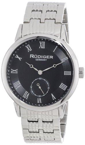 Rudiger Men's R3000-04-007 Leipzig Stainless Steel Black Dial Roman Numeral Watch