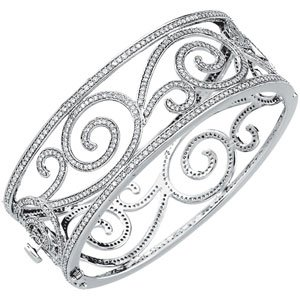 14K White Gold 5 1/8 Ct Tw Diamond Bangle Bracelet