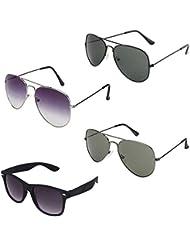 Rhodopsin UV Protected Purple Grey Aviator,Black Aviator,Grey Aviator And Black Wayfarer Sunglasses For Women...
