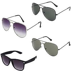 Rhodopsin UV Protected Purple Grey Aviator,Black Aviator,Grey Aviator and Black Wayfarer Sunglasses for Women (4_Purple_Grey_Black_Grey_Avt_Black_Way)