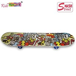 Kids MandiTM Smash Street Printed Skateboard Kids Scooter Imported Wooden - Best for All Ages