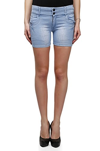 Miss Wow High Waist Denim Shorts for Women (ICEBLU1058_ICE BLUE_34)