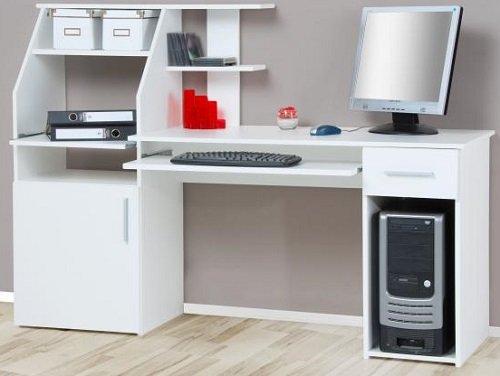 4-4-1505: made in BRD – schöner Bürotisch – weiss dekor – Computertisch – Schreibtisch – PC-Tisch günstig kaufen