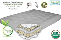 "Hot Sale THE FUTON SHOP 9"" PURE COMFORT ORGANIC DOUBLE SIZE COTTON/WOOL/COIL MATTRESS"