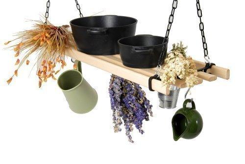 Mensola pendente da cucina porta barattoli pentole con aggancio a soffitto nero - Portapentole da soffitto ...