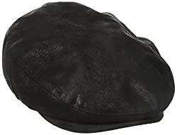 Stetson Men's Weathered Leather Ivy Cap, Black, Medium