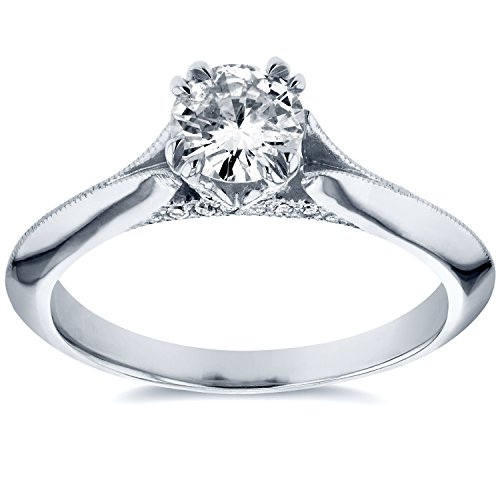 Antique Floral Diamond Engagement Ring 1/2 CTW in 14k White Gold (Floral Engagement Ring compare prices)