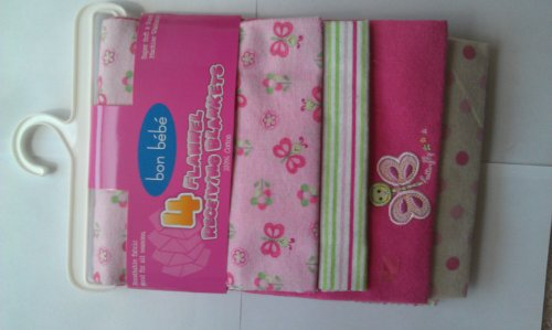 Bon Bebe 4 pack Baby Flannel Receiving Blankets 100% cotton - 1