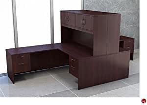 Peblo 2 person 66 l shape office desk workstation overhead storage lo office - L shaped desk for two people ...
