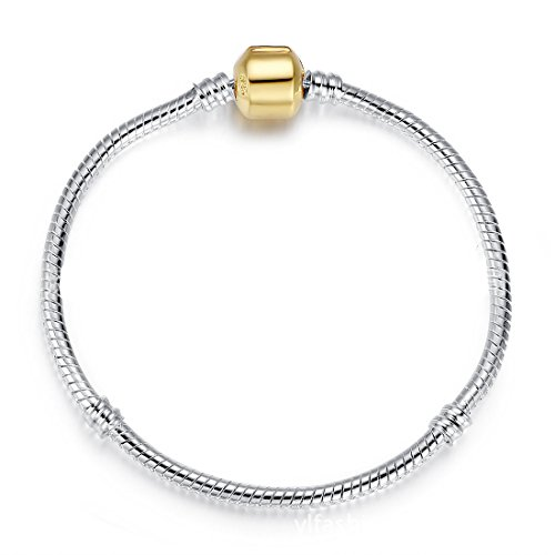 Beautiful Golden Plated Snake Chain Classic Bead Barrel Clasp Bracelet for Beads Charms Bracelet Pandora Compatible. (Pandora Amazon compare prices)