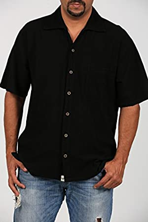 Cotton Natural Islander Button Down Short Sleeve Men's Shirt (3XL)