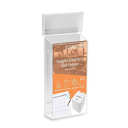Source One Peel and Stick Outdoor Brochure Holder 4 Inches Wide Clear Acrylic Wall Mounting Literature Dispenser (Pamphlet Dispenser compare prices)