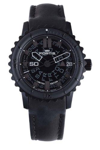 Fortis 675.18.81del hombre L.01B-42Big automático negro PVD bisel giratorio reloj de piel