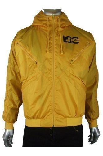 New Mens Location Goggle Yellow Bomber Rain Hooded Windbreaker Jacket Coat