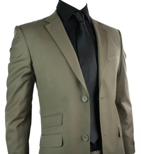 Mens Wool Blend Tan Brown Suit Short Regular & Long Office Wedding