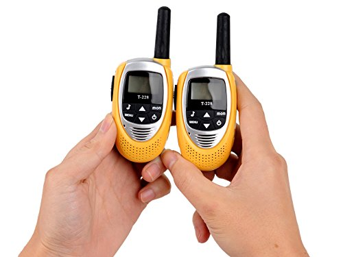 1 Pair Mini Two Way Radio Walkie Talkie 3 Mile UHF Auto 8 Channels Build-in Headset Mic T228 Yellow