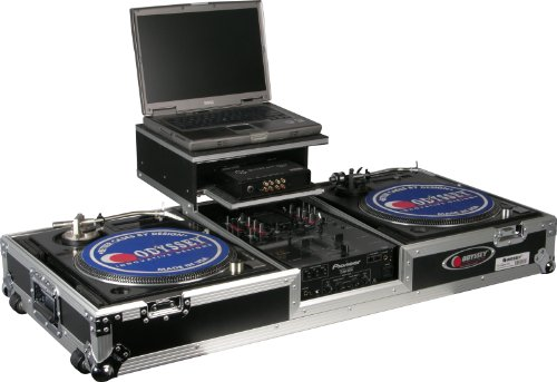 Odyssey FZGSBM10W Flight Zone Glide Style Ata Dj Coffin With Wheels For A 10 Mixer And Two Turntables In Battle Position (Coffin Turntable compare prices)