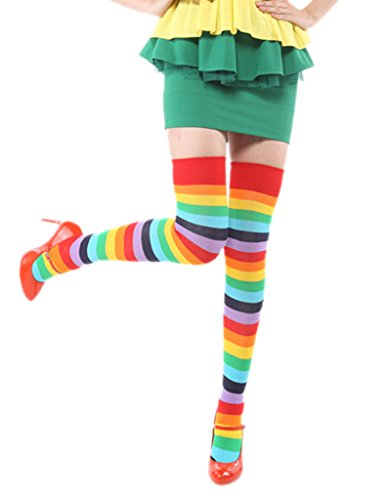 EOZY Women Rainbow Cotton Stripe Thigh High Socks