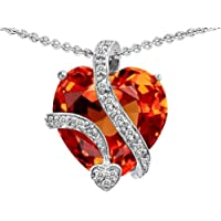 Original Star K (tm) Large 15mm Heart Shape Simulated Orage Mexican Fire Opal Love Pendant in 925 Sterling Silver