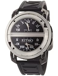 Ritmo Mundo Men's 201/2 SS BLK Quartz Persepolis Triple Time Zone Orbital Case Watch