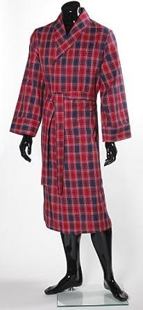 Lloyd Attree & Smith - robe de chambre légère 100% coton brossé - Ecossais rouge / bleu foncé - homme (M)