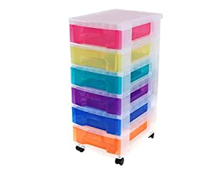 Really Useful Plastic Drawer Storage Unit 6X7 Litre Clear/Rainbow - Color: Clear/Rainbow