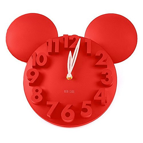 Generic Modern Design Mickey Mouse Big Digit 3D Wall Clock Home Decor Decoration(RED)