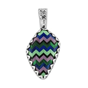 Relios Sterling Silver Multi-Gemstone Inlay Zig Zag Gift Pendant Enhancer