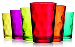Attractive Set of Six (6) Unique Colored Highball Drinking Glasses 7-oz ~ Party Glassware... by GF Art