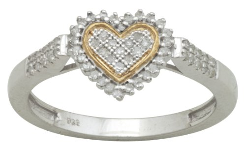 Sterling Silver 0.17cttw Diamond Heart Shaped Promise Ring