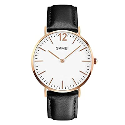 Mens Unusual Quartz Analog Business Casual Classic Stainless Steel Case Waterproof Dress Wrist Watch With Black Leather Band - Rose Gold