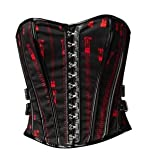 Hell Bunny Black Red Emo Gothic Psychobilly Pvc Zipper Corset Top Size 6 8 10 12 14