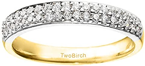 10k Gold Moissanite Pave Set Classic Anniversary Wedding Band with Charles Colvard Created Moissanit