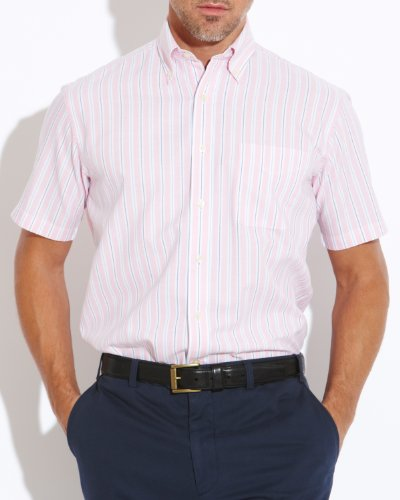 Savile Row Men's Pink White Blue Stripe Oxford Buttondown Collar Short Sleeved Casual Shirt Size Small