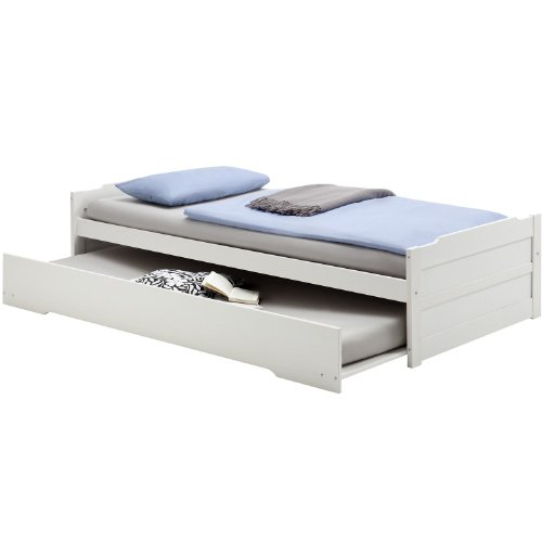 Cadres de lit lit gigogne avec tiroir lit lorena en pin lasur blanc - Cadre de lit avec tiroir ...