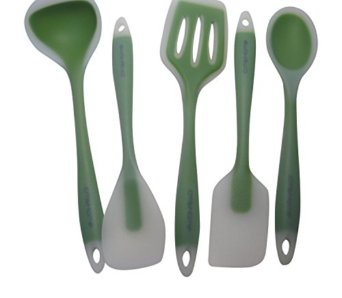 Cmshome Green Ice 5 Piece Cmshome Ultimate Kitchen Tool Gift Set Non-Stick Food Grade Silicone Ladle, Slotted Turner, Spoonula, Spatula, Mixing Spoon Non-Toxic Bpa-Free