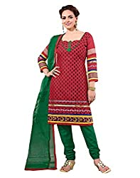 Yehii Women's Cotton Maroon Floral dress material Unstitched Salwar Kameez Dupatta for women party wear low price Below Sale Offer