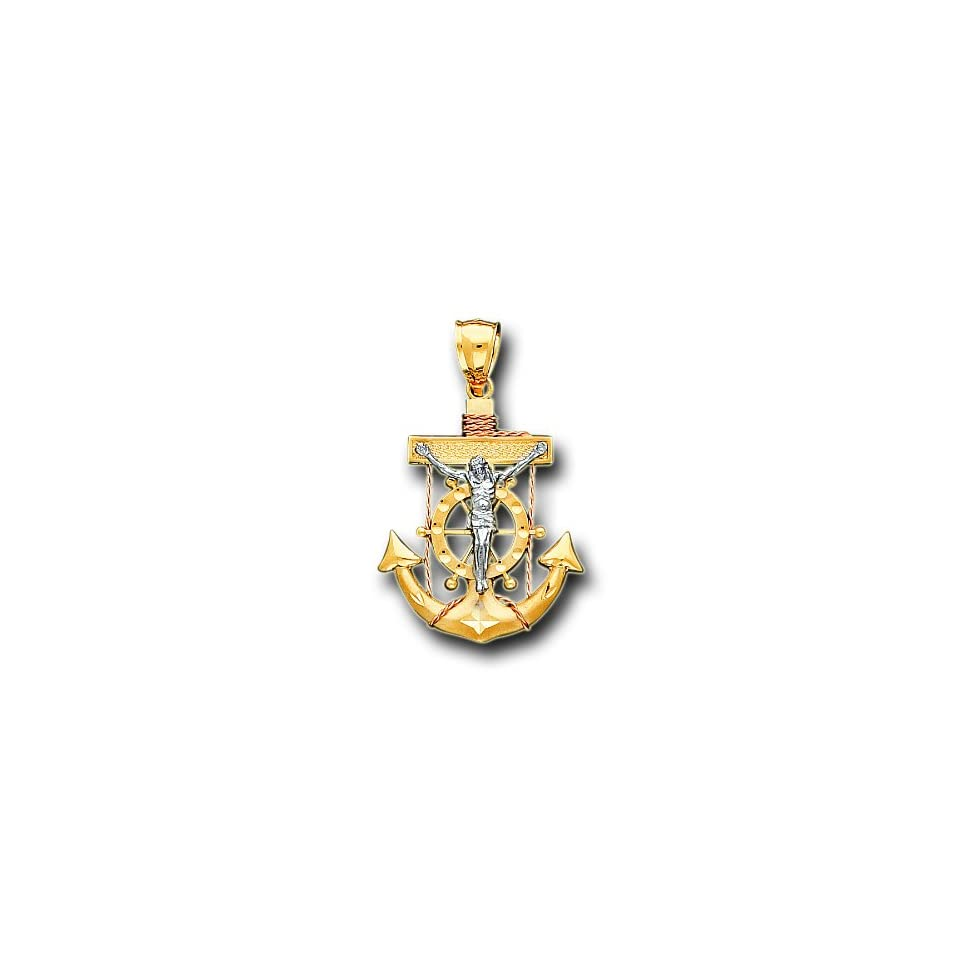 14K Yellow Two Tone Gold Jesus Anchor Charm Pendant
