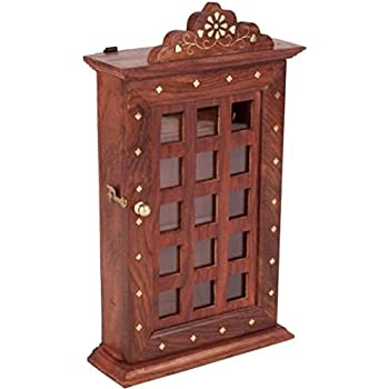 "Indian Hand Crafted 13"" Wooden Key Box, Checks Inlay Work Key Holder, Decorative Brown Color Key Cabinet Organizer 6 Hooks for Your Dream Home, Easter Day / Mother day / Good Friday Gift"