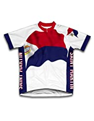 Saint Martin Flag Short Sleeve Cycling Jersey for Women