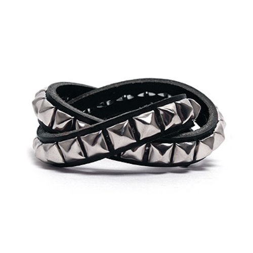 Square Stud 2 Layer Leather Bracelet - Black