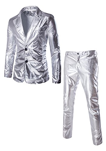 JKQA Men's Metallic Slim Fit Casual Blazer Jacket 2 Piece Outfit Suit (S, Silver) (Holo 2 Costumes)