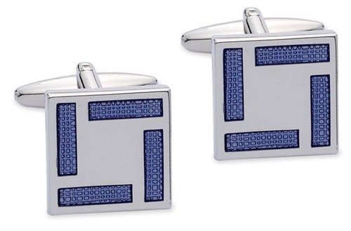 Code Red Base Metal Rhodium Plated Rectangular Cufflinks with Blue Enamel Border Design