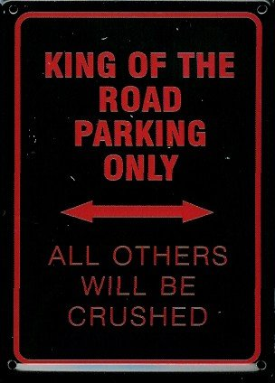 Motocicletta Park spazio Biker Mini-Targa latta Post Card - King of the road parking - 8 x 11 cm Nostalgia Metal tin sign Retro scudo