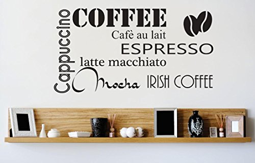 Vinyl Wall Decal Sticker : Coffee Cappuccino Espresso Mocha Latte Kitchen Stylish Decor Bedroom Bathroom Living Room Picture Art Peel & Stick Mural 22 Colors Available - Size: 18 Inches X 18 Inches