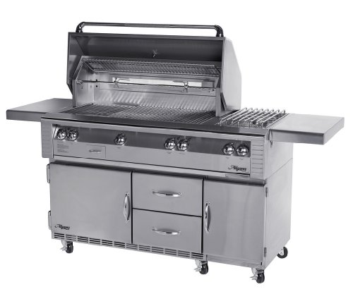 Alfresco Alx2-56Szrfg-Lp Lp Searzone Grill With Side Burner On Refrigerated Cart, 56-Inch