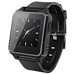 HYON W08 Waterproof Swimming Smart Watch Sim Card Slot Heart Rate Monitor Gesture Control Sport Wrist Smartwatch for iOS Android Smartwatch (Grey)