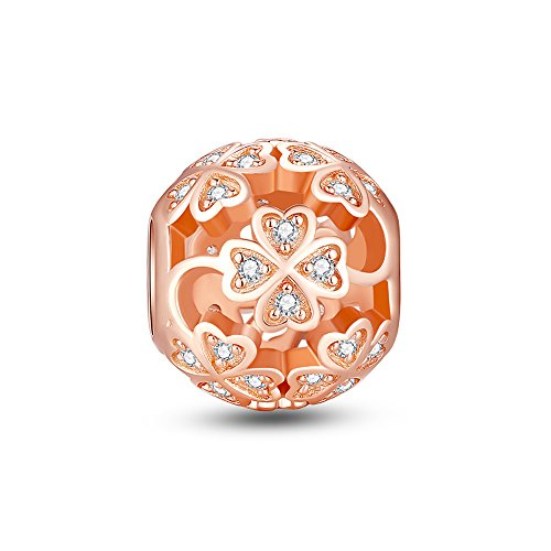 Glamulet Sports Women's 925 Sterling Silver Four Leaf Clover Rose Gold Charm Fits Pandora Bracelet (Gold Charm Brackets compare prices)