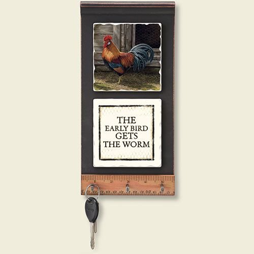 Barnyard Roosters Wood and Tile Leash Key Holder by Highland Graphics